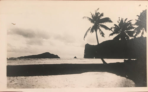 Vintage Photograph Of A Hawaiian Beach Scene