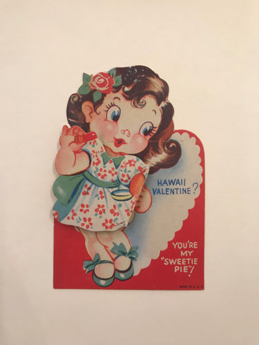 1940's Vintage Hawaiian Hula Valentine Card, Holiday