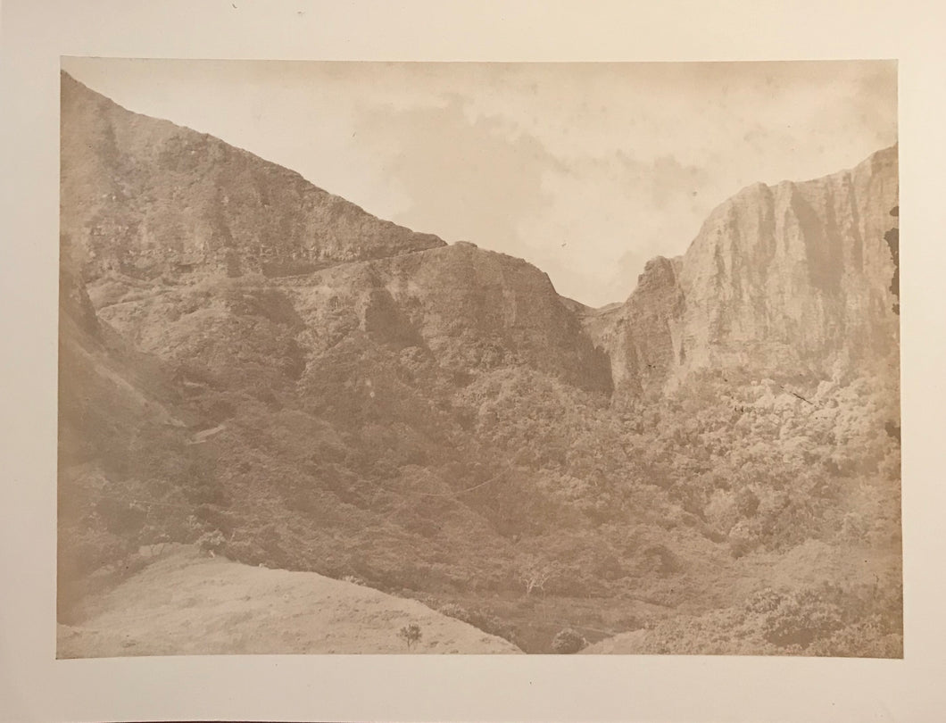 1870's Vintage Albumen Photograph Of Pali From The Windward Side, Oahu Hawaii