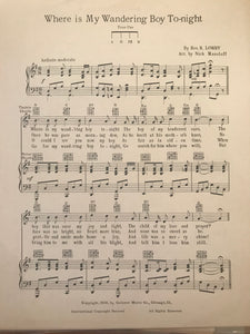 Hawaiian Sheet Music: 'Where Is My Wandering Boy Tonight'