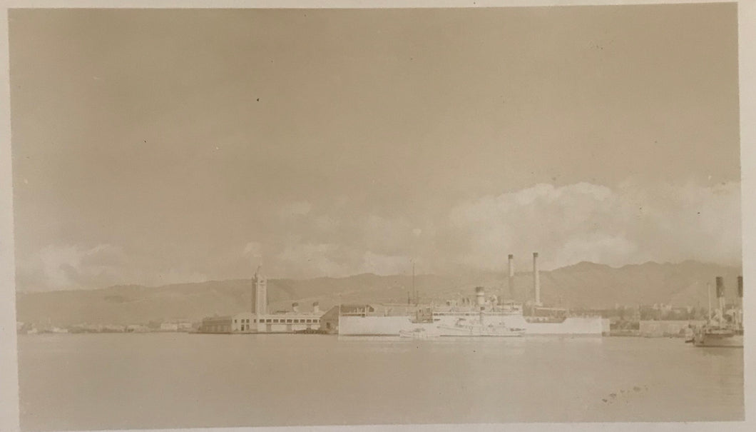 Vintage Photograph Of Aloha Tower and Waterfront at Honolulu Hawaii