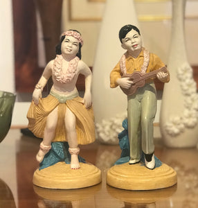 1940's Vintage Lindner Hawaiian Chalk Figurines