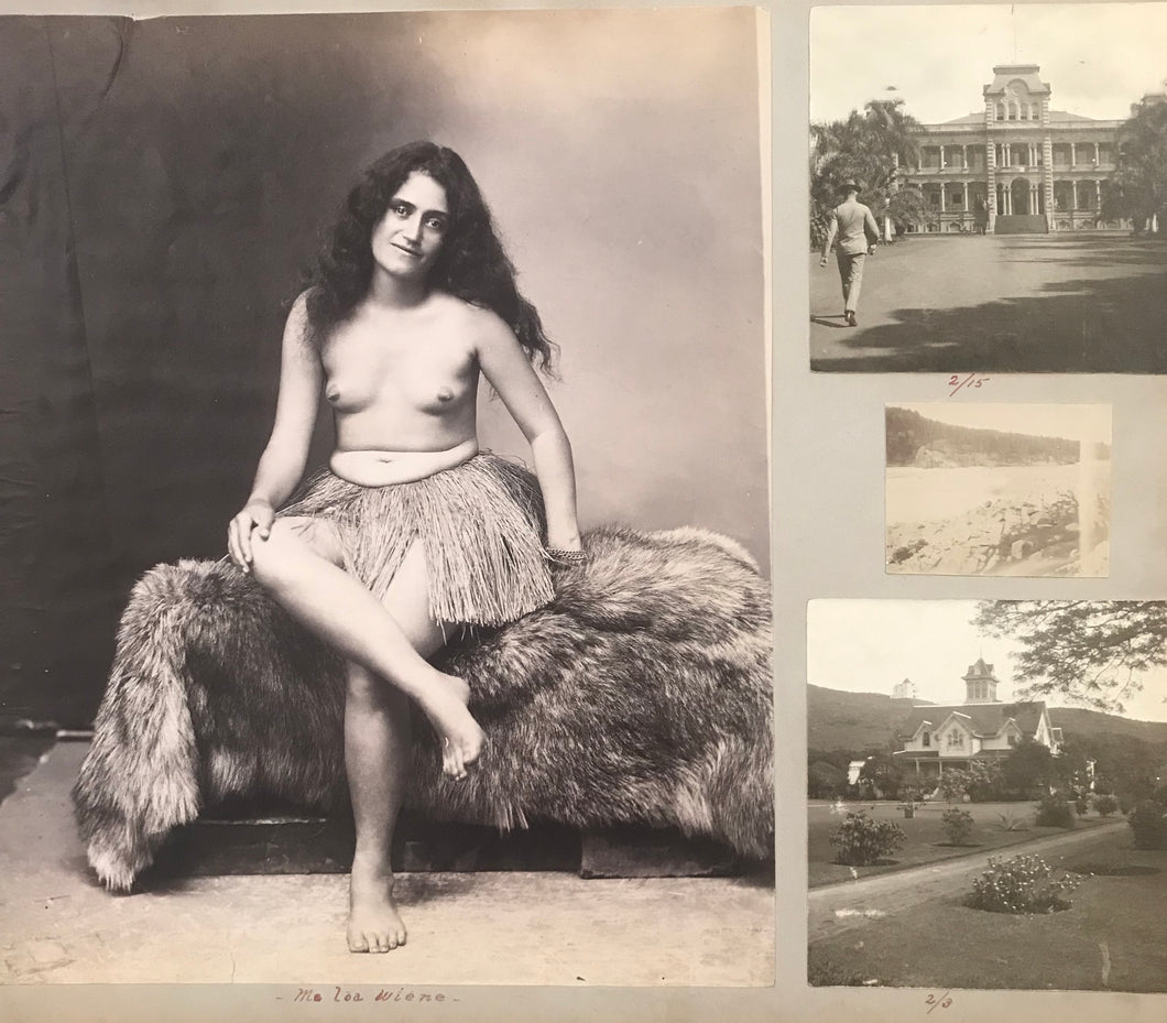 1890's Vintage Albumen Photographs Of Hula, Hawaii, And Ocean Scenes