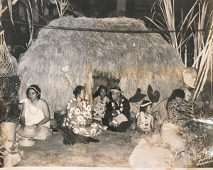 1937 Vintage Photograph Of Grass Hut And Luau In Hawaii