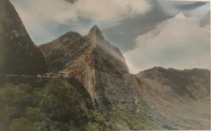1930's Vintage Hand Colored Photograph of The Pali Highway
