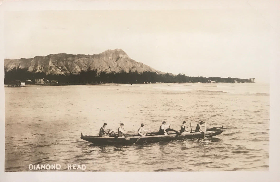 1936 Vintage Real Photo Post Card Of Outrigger In Front Of Diamond Head Hawaii