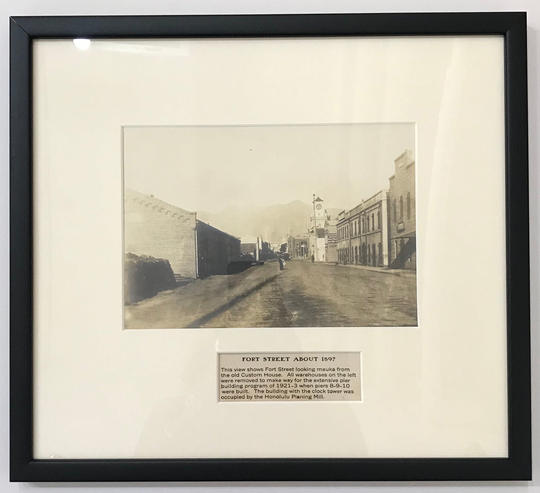 1897 Vintage Photograph Of Fort Street Honolulu Hawaii