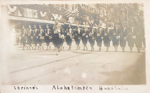 1920's Vintage Real Photo Post Card Of Shriners Parade In Hawaii