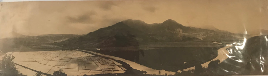 1920's Vintage Panoramic Photograph Of Hanalei Hawaii