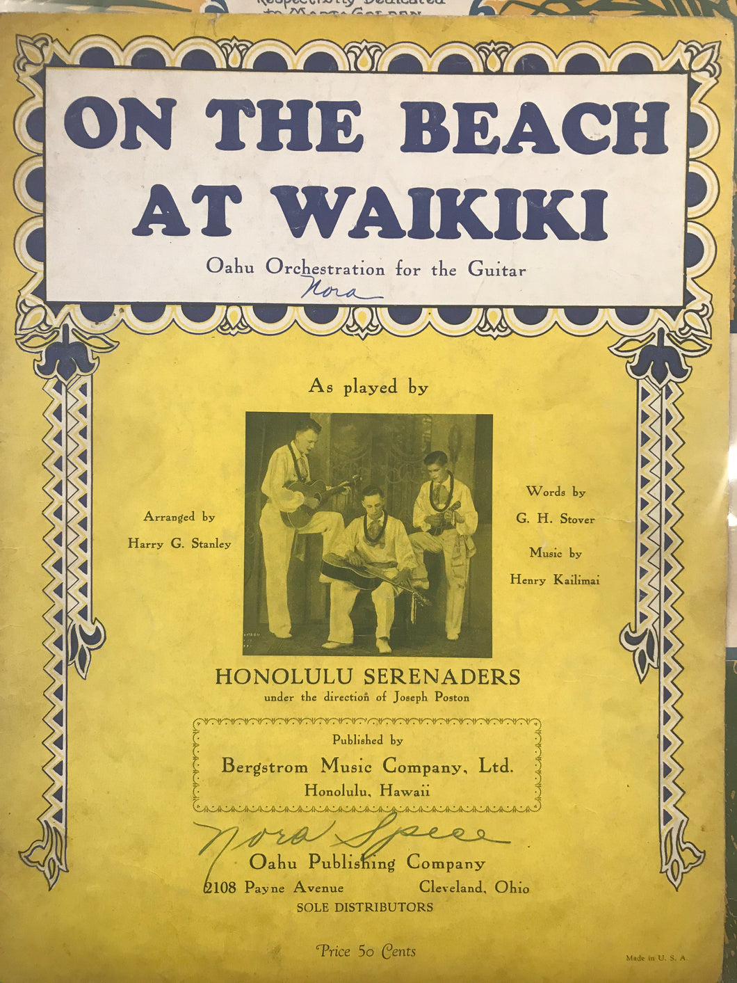 Hawaiian Sheet Music: 'On The Beach At Waikiki'