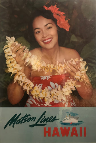 1960's Vintage Original Matson Lines Hawaii Linen Backed Poster