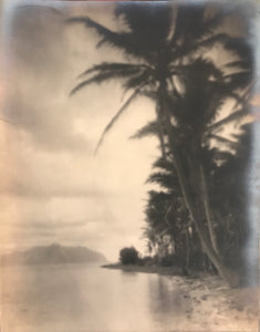 1910's Vintage A. R. Gurrey Silver Soft Focus Photo Of Coconut Island Kaneohe Hawaii