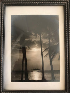 Vintage Photograph Of Cruise Ship And Palm Trees In Hawaii