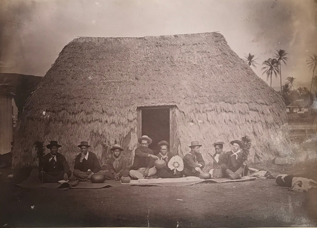 1880's Vintage Albumen Photograph Of Native Grass Hut In Hawaii