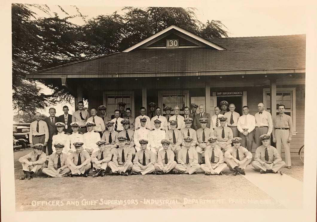 1939 Vintage Photograph of Officers And Chief Supervisors, Pearl Harbor, Hawaii