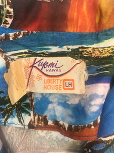 Kiyomi Hawaii Vintage Aloha Hawaiian Silky Shirt, Women's, Photo Print