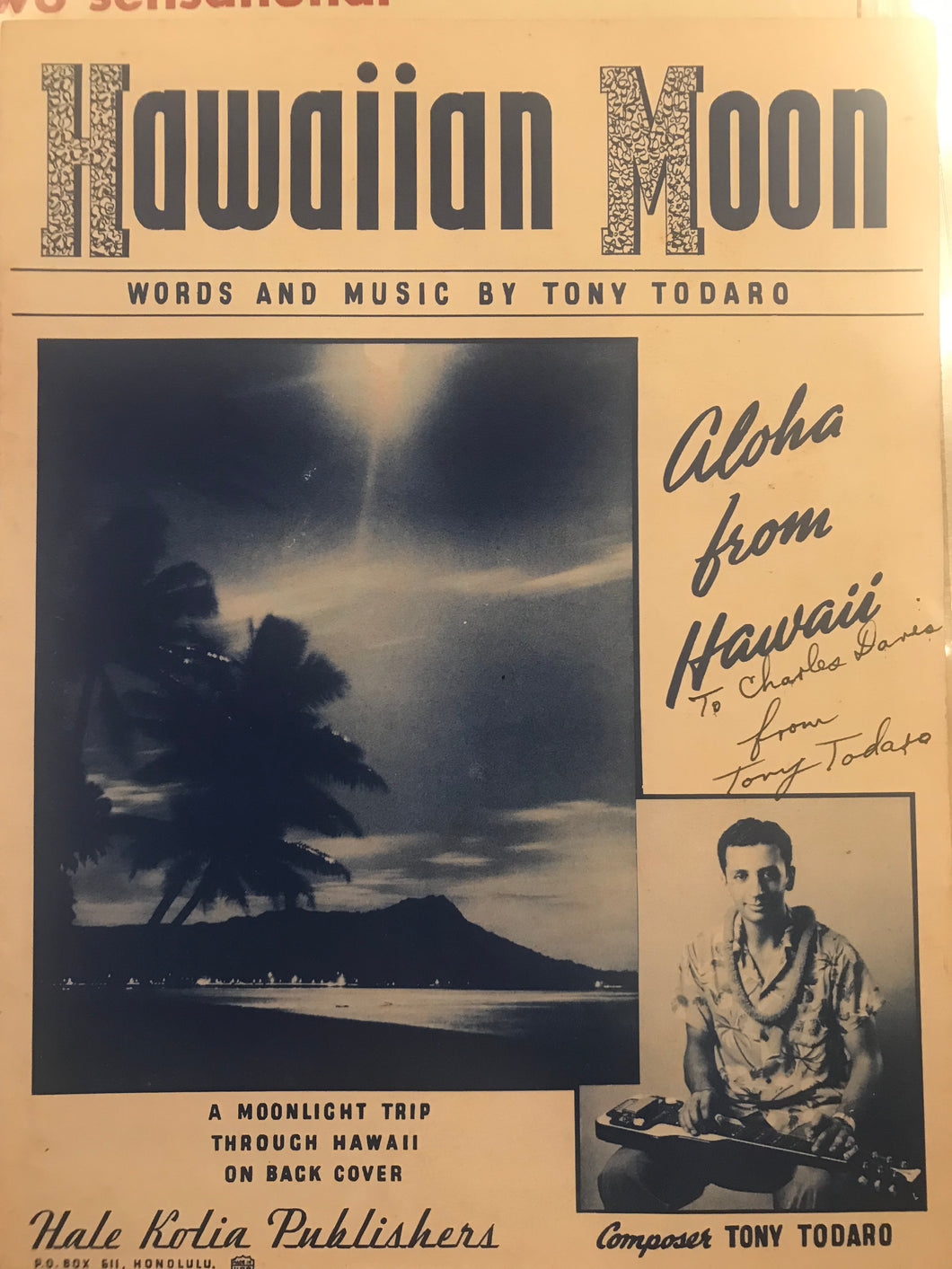 Hawaiian Sheet Music: 'Hawaiian Moon' Signed by Tony Tadaro