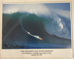 Original Signed Photograph Of Ken Bradshaw, Hawaii, January 28, 1998