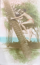 Vintage Hand Colored Real Photo Post Card Coconut Tree Climber Oahu, Hawaii