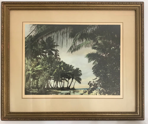 1920's Hand Painted Vintage Photo Of The Kona Coast