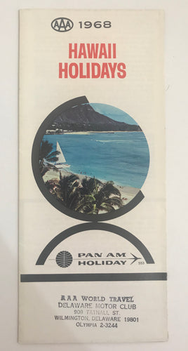 1968 AAA Pan Am Holiday Hawaii Holidays Brochure