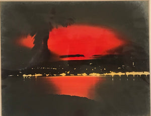 1920's Vintage Hand Colored Photograph Of Hilo Eruption