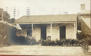 1920's Vintage Real Photo Post Card Of The Old Mission Printing House  Oahu Hawaii