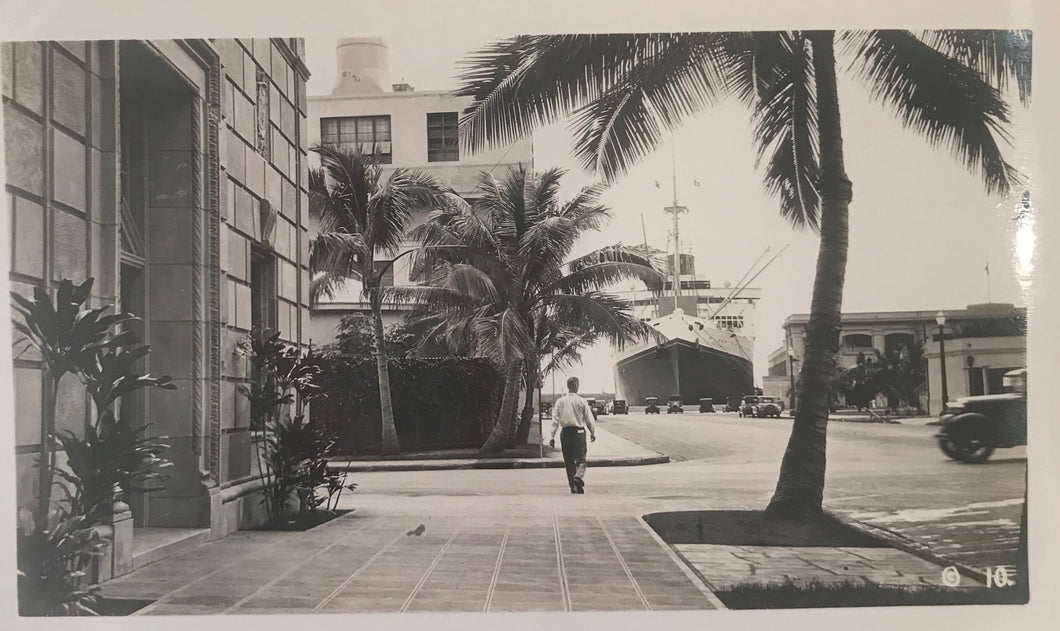 Vintage Photograph Of Man on Bishop St. And Ship At Honolulu Harbor Hawaii