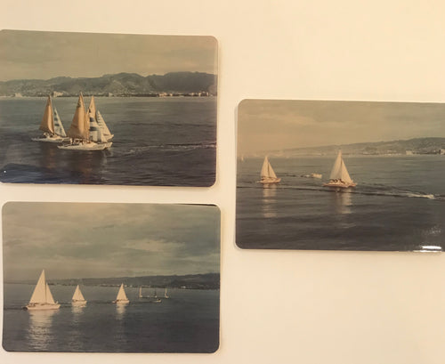 Vintage Lot Of Three  Photograph Of Sailboats In Honolulu Hawaii