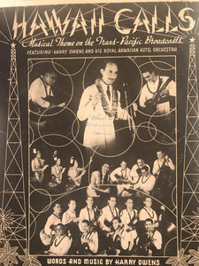 Hawaiian Sheet Music: 'Hawaii Calls' SIGNED