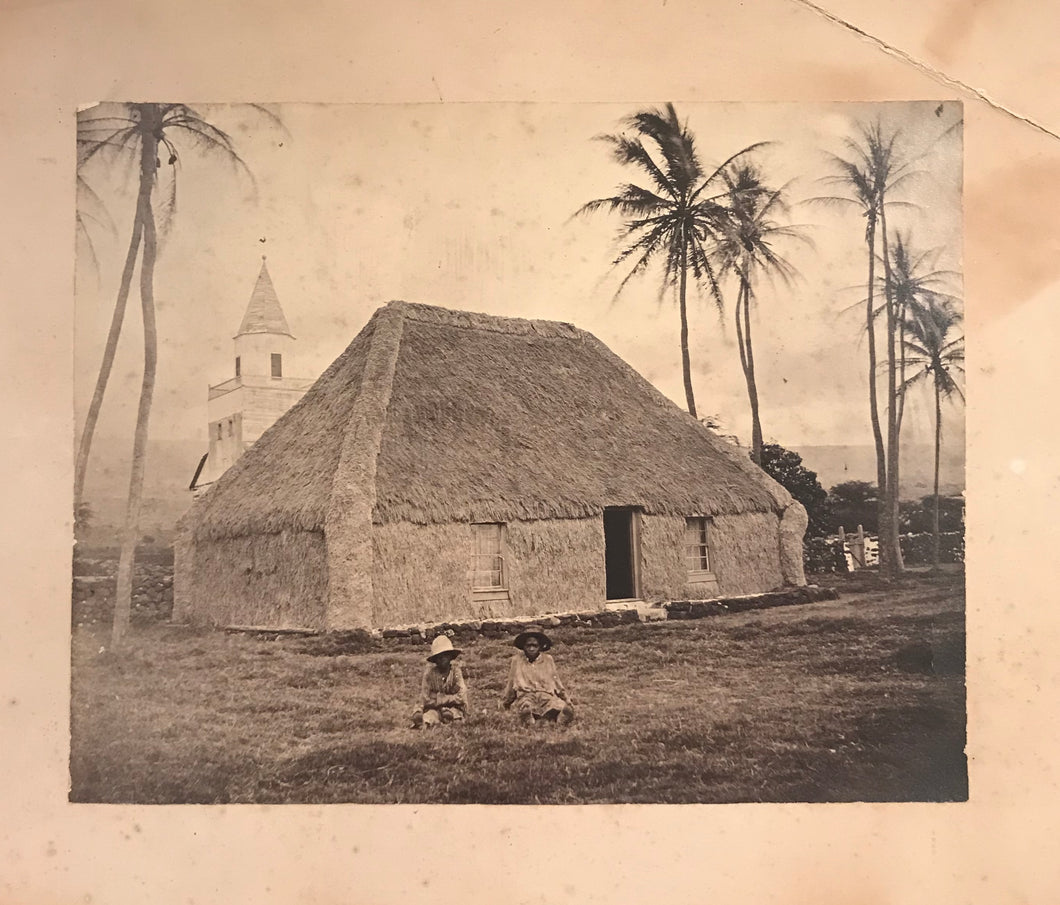 1880's Vintage Albumen Photograph of A Tradional Hawaiian Grass Hut, Hawaii