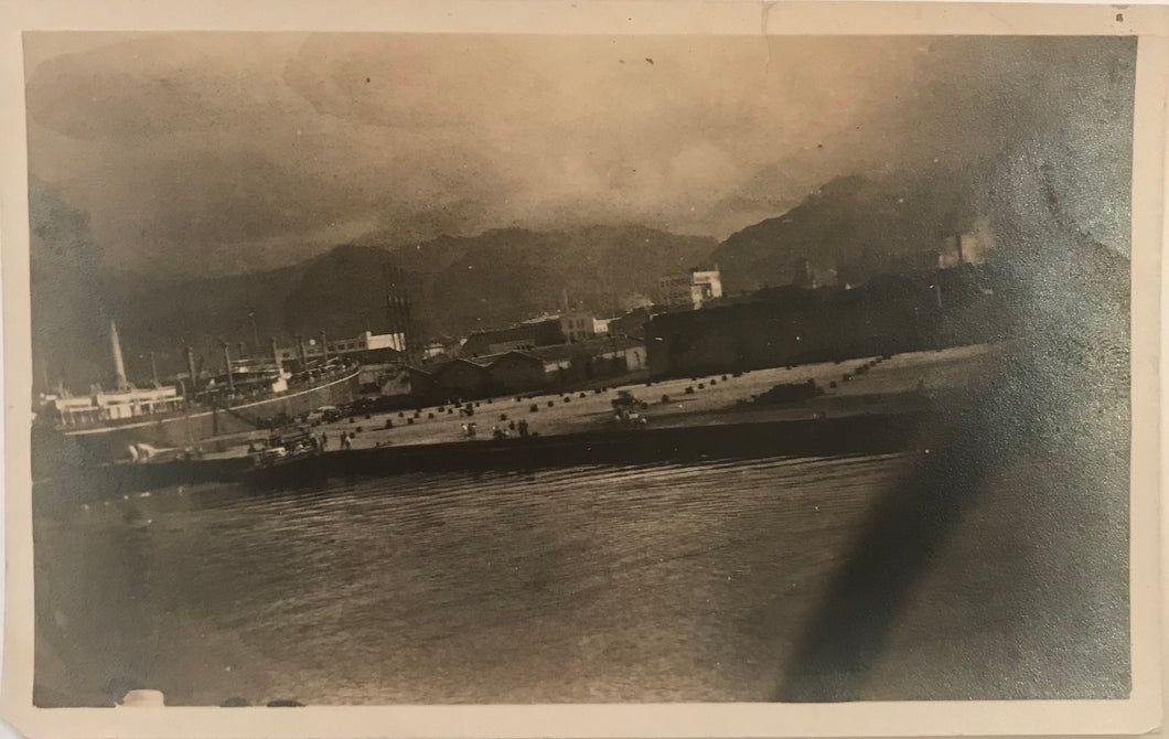Vintage Silver Photograph Of Docks In Honolulu Taken From A Ship