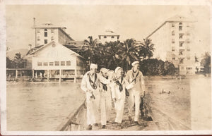 Vintage Post Card With Picture Of Navy Sailors In Hawaii