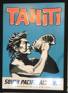 Original 1950s Tahiti South Pacific Airlines Vintage Travel Poster