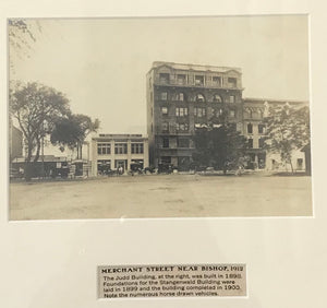 1912 Vintage Photograph Merchant Street Near Bishop Honolulu Hawaii