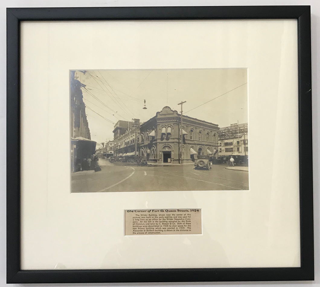 1924 Vintage Photograph Of The Corner Of Fort & Queen St Honolulu Hawaii