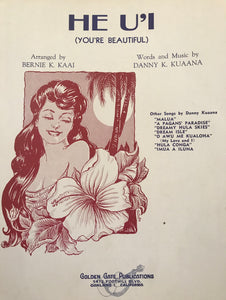"Hawaiian Sheet Music ""He U'i"" (You're Beautiful)"