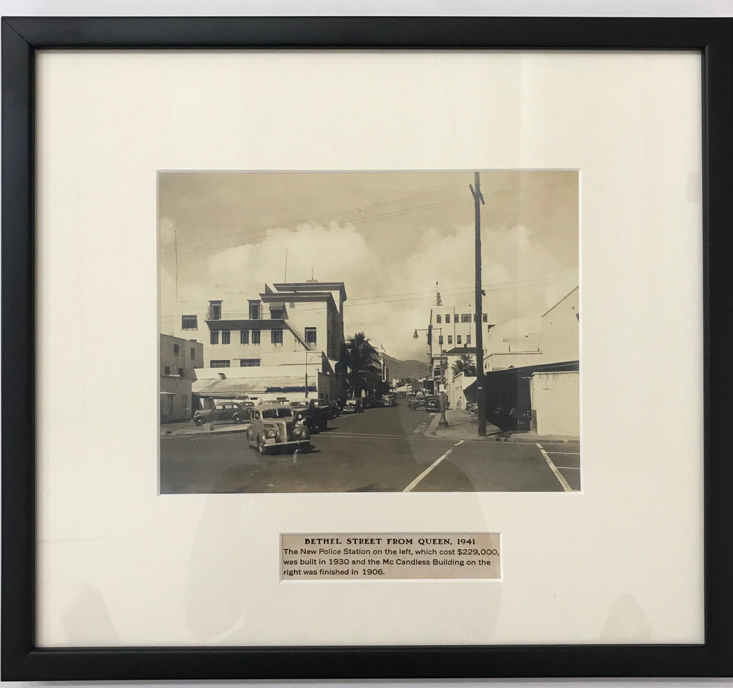 1941 Vintage Photograph Of Bethel St. From Queen St. Honolulu Hawaii