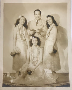 Vintage Photograph Of Ray Kinney And Hawaiian Hula Dancers, Signed