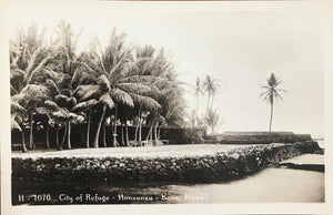 Vintage Real Photo Post Card Of The City Of Refuge Kona Hawaii