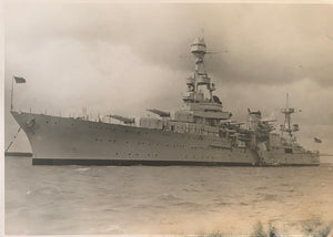 Vintage Silver Photograph Of a Military Ship In Honolulu Hawaii
