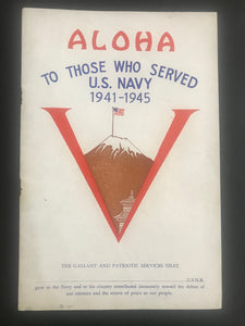 "1940s Hawaii Booklet "" Aloha to those that served US Navy 1941-1945 "" V Victory"