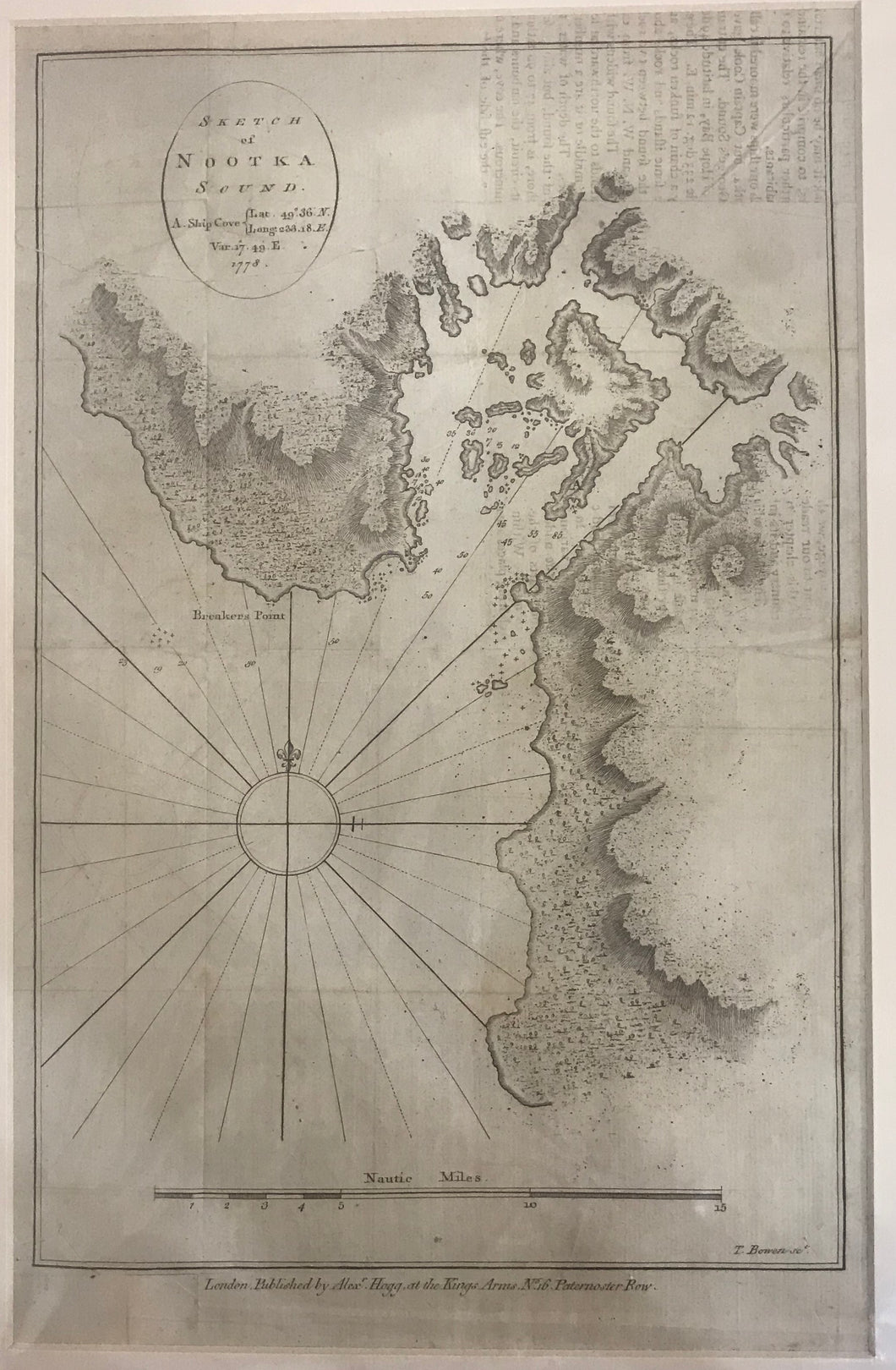 18th Century Sketch Of Nootka Sound, Map, Pub. By Alex Hogg