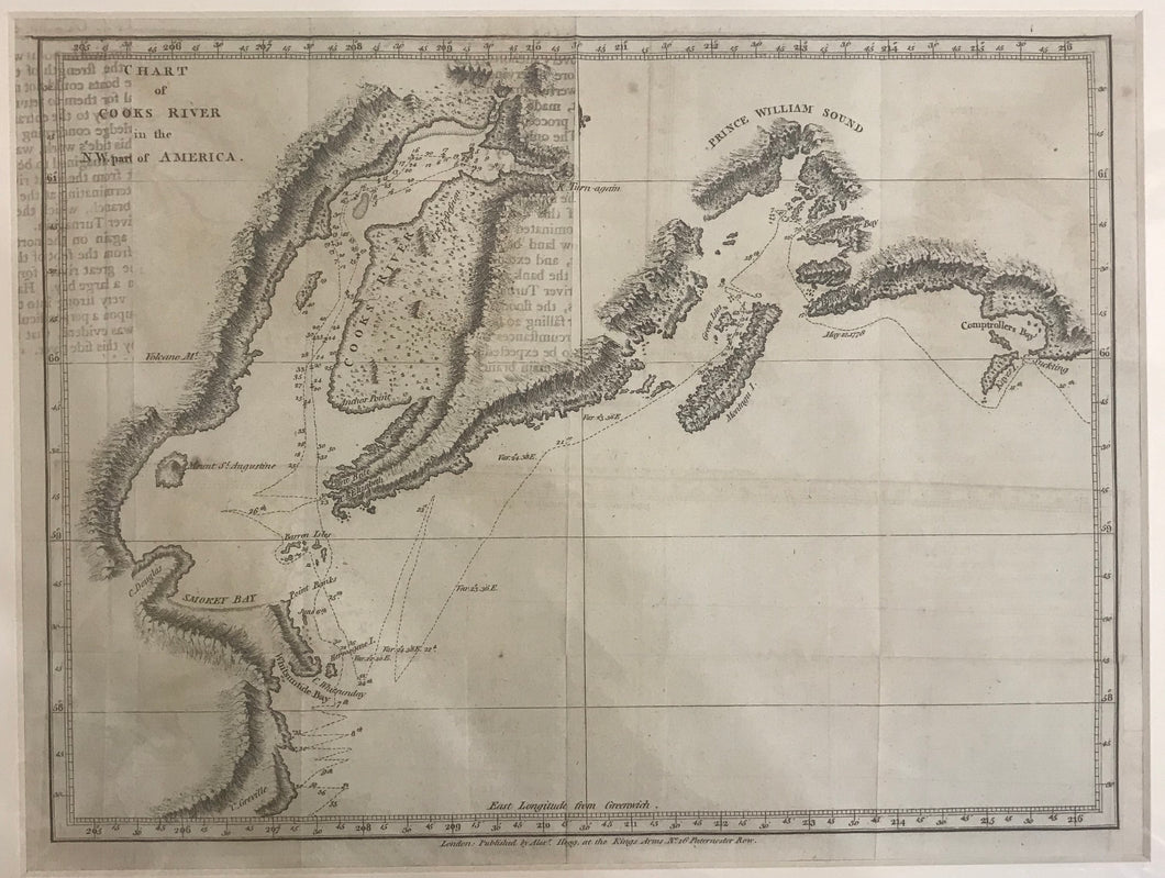 18th Century Chart Of Cooks River In The N.W. Part Of America, Map