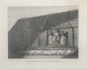 'Inside Of The House, In The Morai, In Atooi' 1784 Webber Engraving From Cook's 3rd Voyage