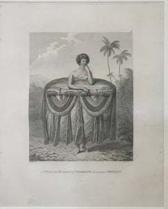 "'A Young Woman Of Otaheite, Bringing A Present"" Tahiti 1784 Webber Engraving"
