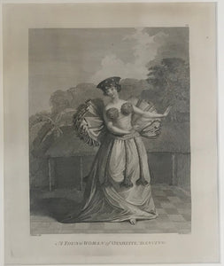 "'A Young Woman Of Otaheite, Dancing"" Tahiti 1784 Webber Engraving"