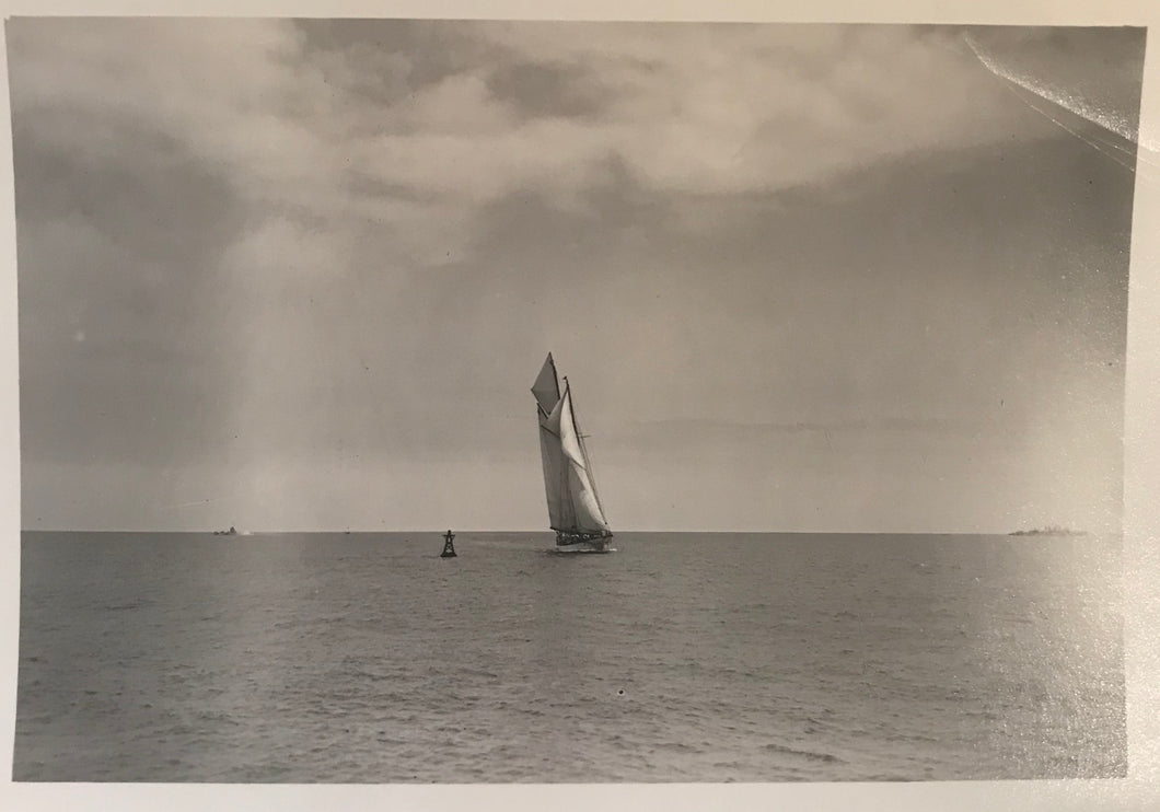 1927 Vintage Photograph Of The Winner In A Yacht Race In Honolulu