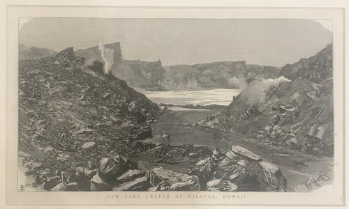 19th Century Engraving: New Lake Crater of Kilauea, Hawaii