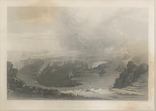 1840 Original Hawaii Engraving 'View Of Crater Kilauea'